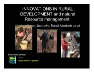 INNOVATIONS IN RURAL DEVELOPMENT and natural Resource management