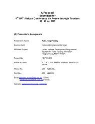 A Proposal Submitted for 4 IIPT African Conference on Peace through Tourism