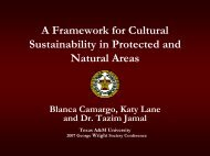 A Framework for Cultural Sustainability in Protected and Natural Areas
