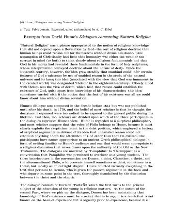 Essay on Hume's Dialogues?