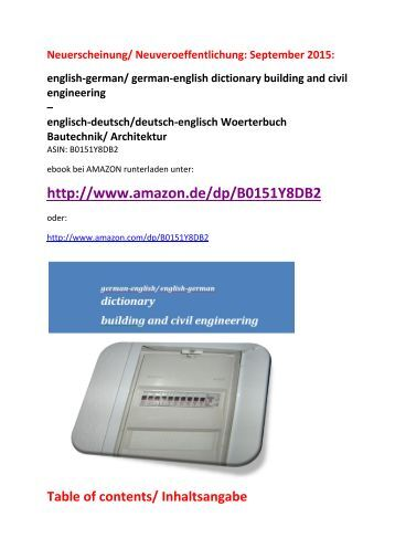 Bautechnik/ Architektur-Woerterbuch (Neuerscheinung):  deutsch-englisch-Uebersetzer - english-german dictionary building and civil engineering