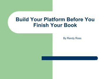Build Your Platform Before You Finish Your Book