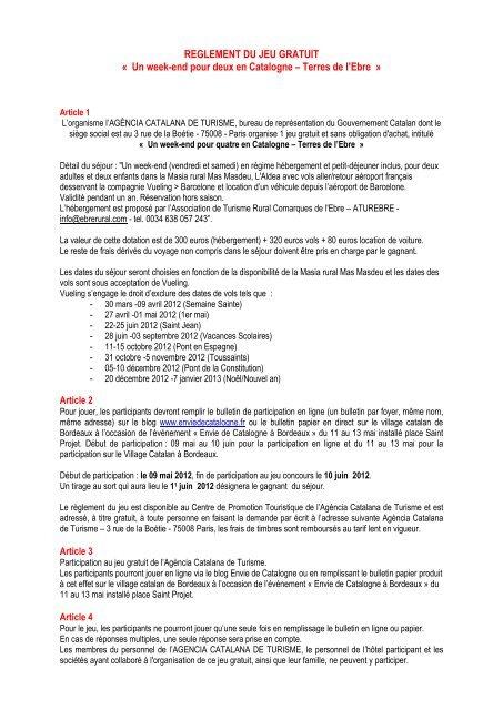 lire le règlement - Envie de Catalogne