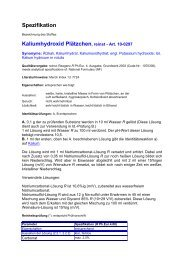 Spezifikation Kaliumhydroxid Plätzchen, reinst - Art. 10-0297