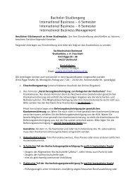 Bachelor-Studiengang International Business – 6 Semester ...