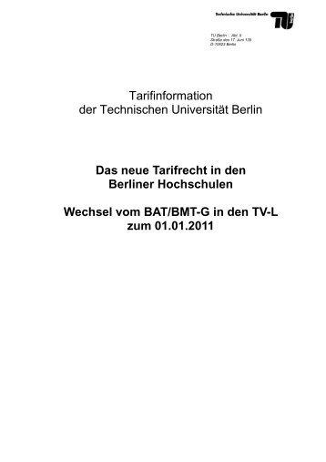 Das neue Tarifrecht in den Berliner Hochschulen - der ...