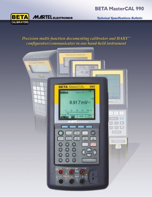 HART Communicator Datasheet - Martel Beta Process Calibrators