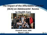 The Impact of the Affordable Care Act (ACA) on Adolescents' Access ...