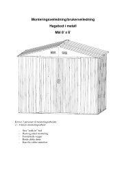 Monteringsveiledning/brukerveiledning Hagebod i metall Mål 8' x 6'
