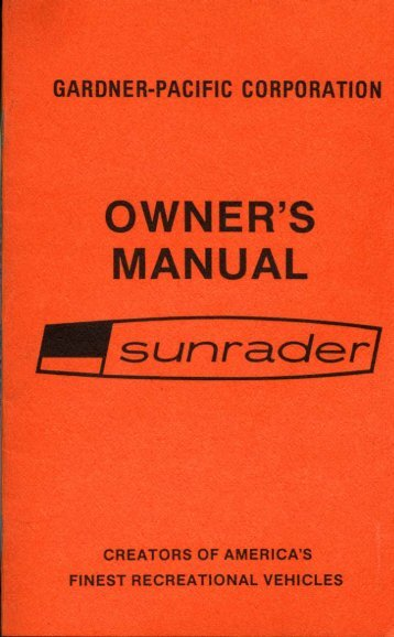 owner's manual - Toyota Motorhome and Toyota Motorhomes for sale