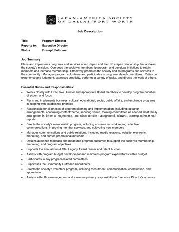 Job Description Job Title Managing Director Reporting Line