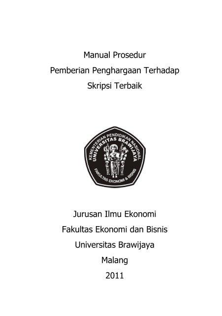 Manual Prosedur Skripsi Terbaik Feb Ub Universitas Brawijaya