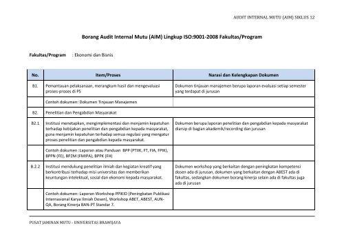 Borang Audit Internal Mutu Aim Lingkup Iso 9001 2008 Fakultas