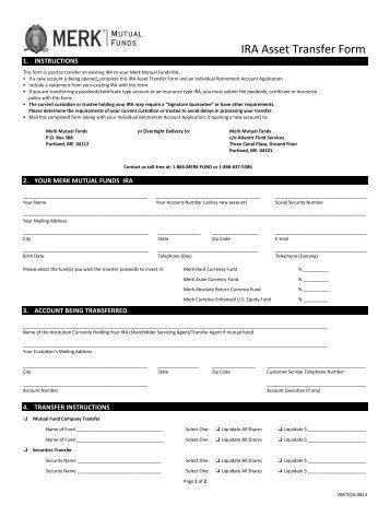 IRA Asset Transfer Form (three forms)