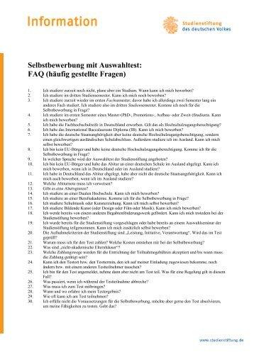 FAQ - Studienstiftung des deutschen Volkes
