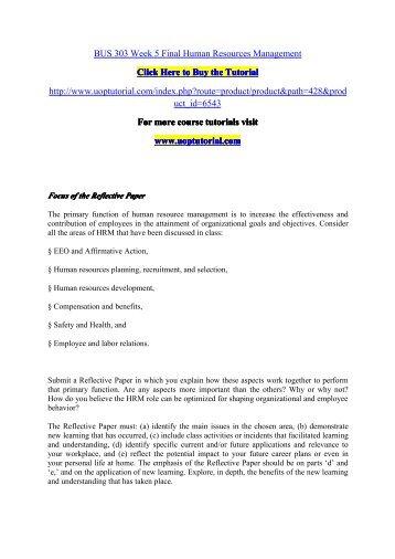 BUS 303 Week 5 Final Human Resources Management/Uoptutorial