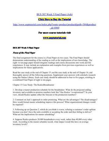 BUS 307 Week 5 Final Paper/Uoptutorial