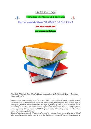 PSY 360 Week 5 DQ 4/snaptutorial