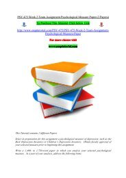 PSY 475 Week 2 Team Assignment Psychological Measure Paper (2 Papers)/snaptutorial