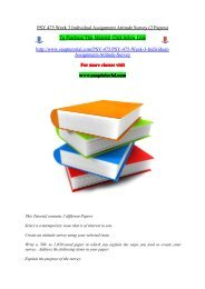 PSY 475 Week 3 Individual Assignment Attitude Survey (2 Papers)/snaptutorial