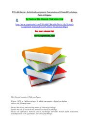 PSY 480 Week 1 Individual Assignment Examination of Clinical Psychology Paper (2 Papers)