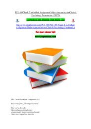 PSY 480 Week 2 Individual Assignment Major Approaches to Clinical Psychology Presentation (2 PPT)