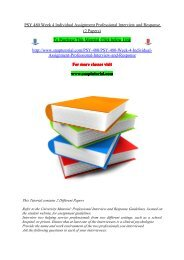 PSY 480 Week 4 Individual Assignment Professional Interview and Response (2 Papers).pdf