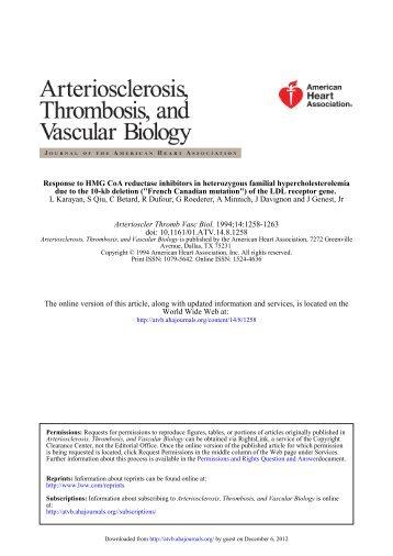 Response to HMG CoA Reductase Inhibitors in Heterozygous ...