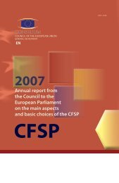 Annual report from the Council to the European Parliament on the ...