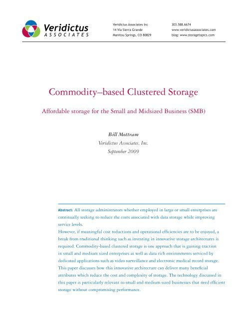 Commodity–based Clustered Storage - Veridictus Associates Inc