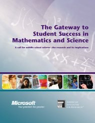 The Gateway to Student Success in Mathematics and Science