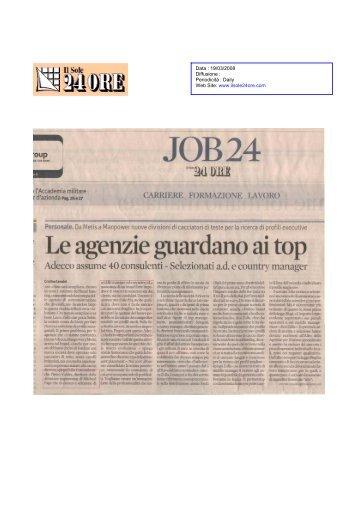 Data  19/03/2008 Diffusione  Periodicità  Daily Web Site www.ilsole24ore.com