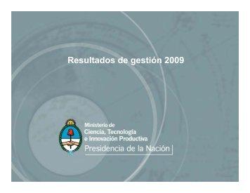 Resultados de gestión 2009