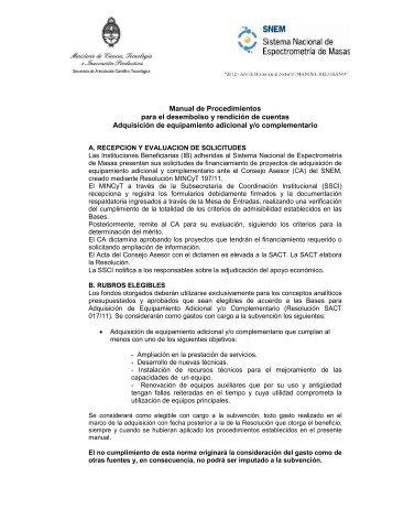 Manual de Procedimientos para el desembolso y rendición de ...