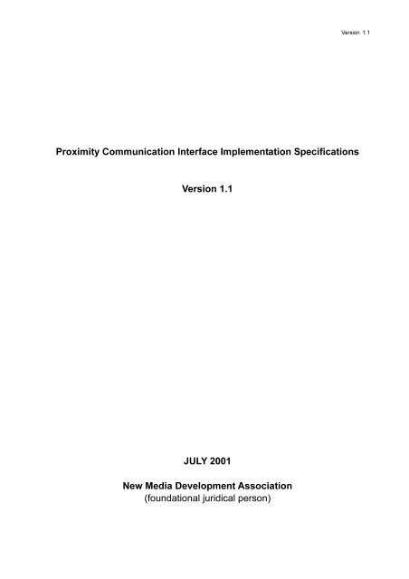 Proximity Communication Interface Implementation Specifications