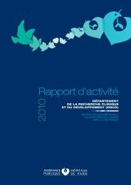 Rapport d'activité 2010 - la recherche clinique de l'AP-HP