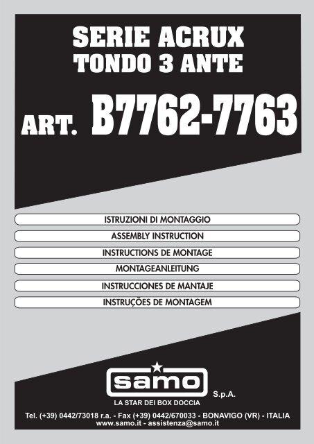 Istruzioni Montaggio Cabina Doccia.B7762 7763