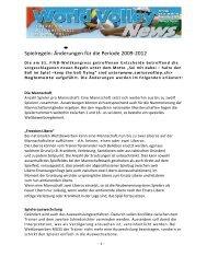 •• Spielregeln Änderungen für die Periode 2009-2012