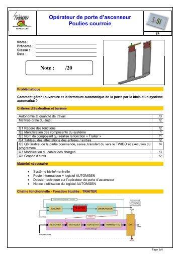30 free magazines from lycee ferry versailles fr - Operateur de porte d ascenseur ...