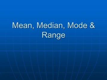 Mean Median Mode & Range