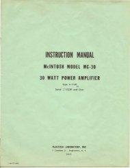 McIntosh - MC30 Owner's Manual & Schematics - Vintage Vacuum ...