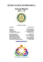 ROTARY CLUB OF SUTHERLAND INC Annual Report 2011 – 12