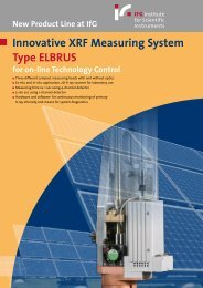 Innovative XRF Measuring System Type ELBRUS for on-line - IfG