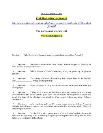 PSY 202 Week 2 Quiz/ Uoptutorial