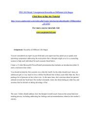 PSY 265 Week 7 Assignment Sexuality at Different Life Stages/ Uoptutorial
