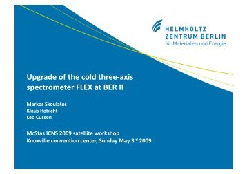 Upgradeofthecoldthree‐axis spectrometerFLEXatBERII