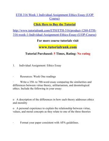 Eth 316 week 1 individual assignment ethical essays topics