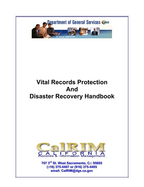 Vital Records Protection And Disaster Recovery     - State