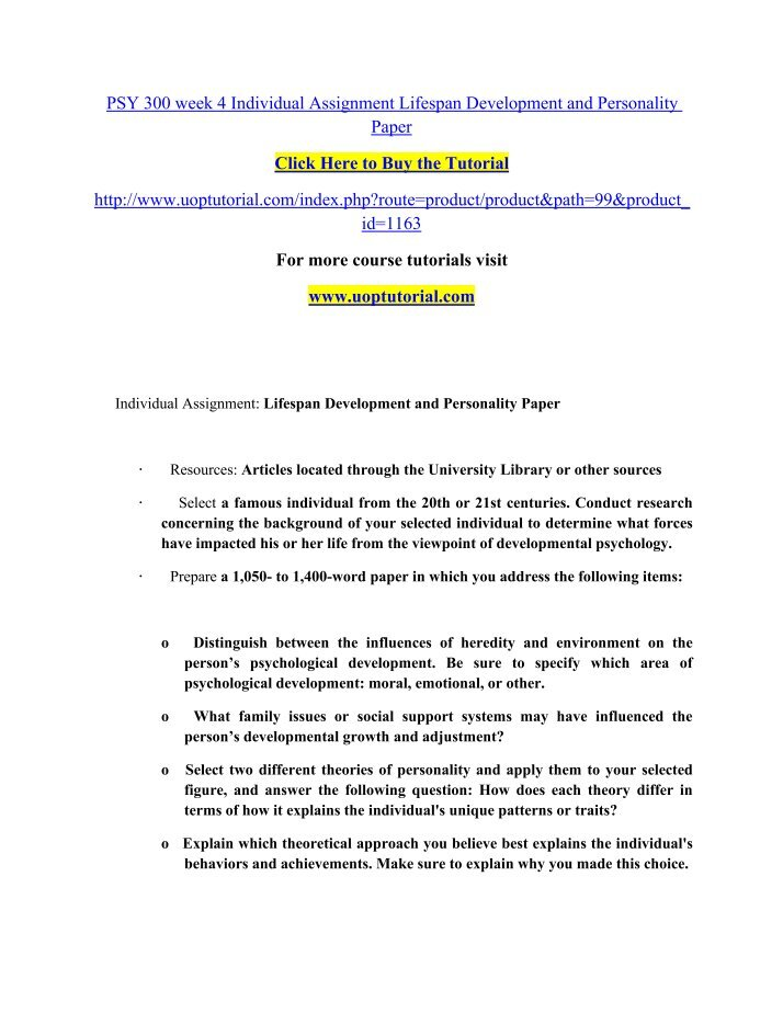 psy 475 week 1 individual assignment Psy 475 entire course for more course tutorials visit wwwuoptutorialcom psy 475 week 1 individual assignment introduction to psychological testing paper.