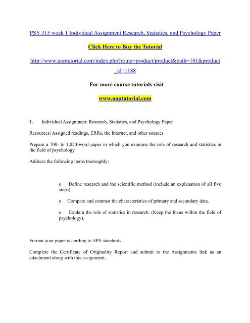 PSY 315 week 1 Individual Assignment Research, Statistics, and